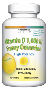 Vitamin D 1000IU Sunny Gummies Lemon 100 gummies From Rainbow Light
