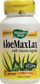 Aloe MaxLax with Cascara Sagrada 455 mg 100 Vegetarian Capsules From Nature's Way