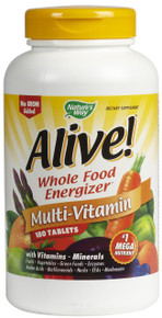 Alive Multivitamin NO IRON Whole Food Energizer 180 Tablets From Nature's Way