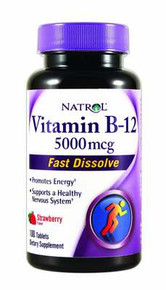 Natrol Vitamin B12 HFF Fast Dissolve Nutritional Supplements 5000 mcg 100 Count