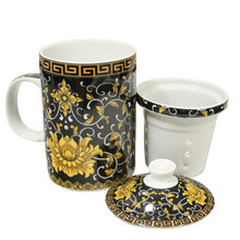 Black with Yellow Flower Filter Tea Cup  From AFG