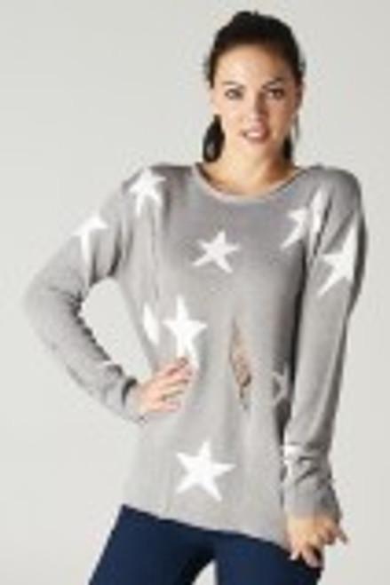 Star Bright Distressed Sweater