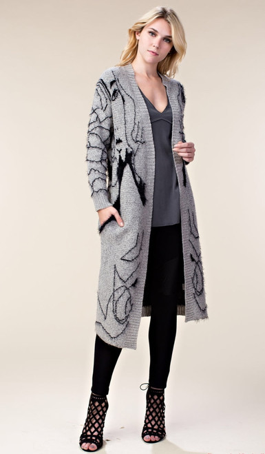 Graphic Styled Cardigan