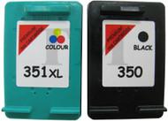 HP 350 Black & 351 XL Colour Set Remanufactured Ink Cartridges