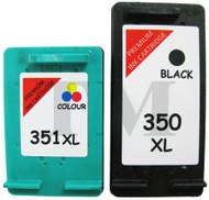 HP 350 XL Black & 351 XL Colour Set Remanufactured Ink Cartridges