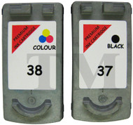 Canon PG-37 / CL-38 Remanufactured Ink Cartridges Multipack- High Capacity Black & Tri-Colour Ink Cartridges - Compatible For (PG-37, PG37, 2145B009, 2145B001, CL-38, CL38, 2146B001)