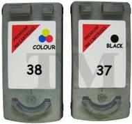 Canon PG-37 Black & CL-38 Colour Set Remanufactured Ink Cartridges
