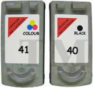 Canon PG-40 Black & CL-41 Colour Set Remanufactured Ink Cartridges