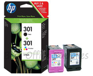 HP Original 301 Black & Colour Set Ink Cartridges N9J72AE