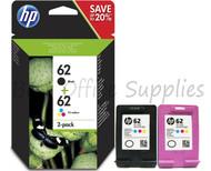 HP 62 Black & Colour Ink Cartridges Combo (N9J71AE)