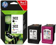 HP 302 Original Black & Tri-Colour 2 Pack Ink Cartridges Multipack - (X4D37AE, 302)