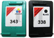 HP 338 & HP 343 Remanufactured Ink Cartridges Multipack- High Capacity Black & Tri-Colour Ink Cartridges - Compatible For  (SD449EE, HP338, HP343, C8766EE, C8765EE)