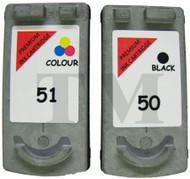 Canon PG-50 Black & CL-51 Colour Set Remanufactured Ink Cartridges