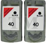 PG-40 Reman Canon Bundle - (2 x PG40 Black)