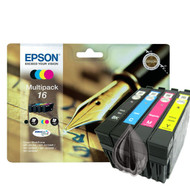 Epson 16 Original Ink Cartridges Multipack - High Capacity 4 Colour - Black / Black / Cyan / Magenta / Yellow (C13T16264010, T1626, T162640, Epson 16, C13T16264012)