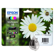 Epson 18 Original Ink Cartridges Multipack - High Capacity 4 Colour - Black / Black / Cyan / Magenta / Yellow (C13T18064010, C13T18064012, T1806, Epson 18, Epson Daisy)
