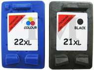 HP 21 XL & HP 22 XL Remanufactured Ink Cartridges Multipack- High Capacity Black & Tri-Colour Ink Cartridges - Compatible For (C9351AE, C9352AE, SD367AE, HP21, HP22)