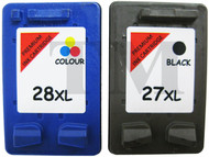 HP 27 XL & HP 28 XL Remanufactured Ink Cartridges Multipack- High Capacity Black & Tri-Colour Ink Cartridges - Compatible For  (C8727AN, HP 27, C8728AN, HP 28)