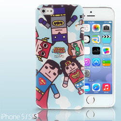 iPhone SE / 5 / 5S / 5C Comic Case: Justice League X Korejanai DC Comics Heroes - 5 Heroes Back Case + Screen Protector CMCA030200 by IQCUBES.COM