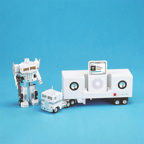 COLLECTOR SERIES: TRANSFORMER CONVOY - iPhone / iPod Speaker & Docking (Special Edition - Pearl White OPTIMUS PRIME)