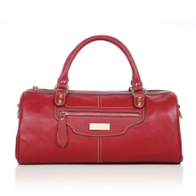 aretha 141051 Leather top handle bag red