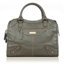 aretha 141061 Leather top handle bag grey