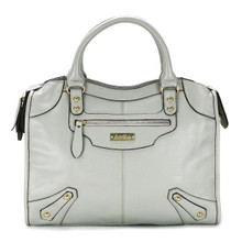 aretha 141061 Leather top handle bag light grey