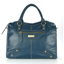 aretha 141061 Leather top handle bag blue