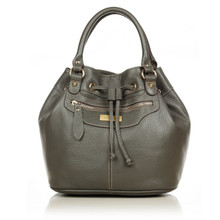 aretha 141171 Genuine Leather top handle bag grey