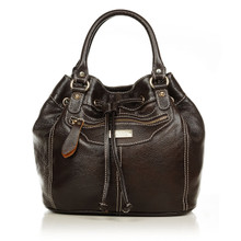 aretha 141171 Genuine Leather top handle bag coffee