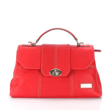 aretha 141310 Genuine Leather top handle bag red