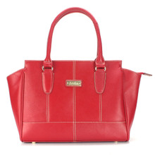 aretha 141340 Genuine Leather top handle bag red