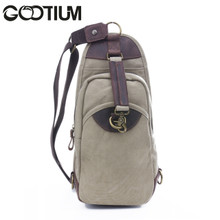 Gootium 21105KA Men's Canvas Genuine Leather Cross Body Chest Pack,Khaki