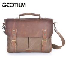 Gootium 21108BR Cotton Canvas Genuine Leather Cross Body Laptop Messenger Shoulder bag,Coffee