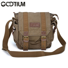 Gootium 21217AMG Canvas Genuine Leather Cross Body Messenger Handbag