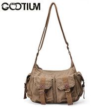 Gootium 21218AMG Canvas Genuine Leather Cross Body Messenger Handbag Shoulder Bag (Army Green)