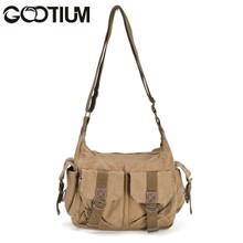 Gootium 21218KA Canvas Genuine Leather Cross Body Messenger Handbag Shoulder Bag,Khaki