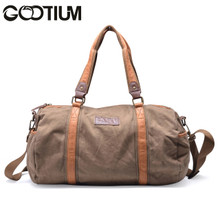 Gootium 30317AMG Thick Canvas Genuine Leather Traveling Sports Duffle (Army Green)