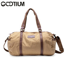 Gootium 30317KA Thick Canvas Genuine Leather Cross Body Traveling Sports Handbag Shoulder Duffle Bag,Khaki