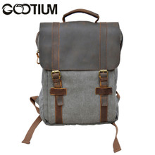 Gootium 30520GRY Canvas Genuine Leather Laptop BagPack (Grey)