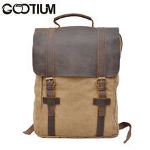 Gootium 30520KA Canvas Genuine Leather Laptop BagPack,Khaki