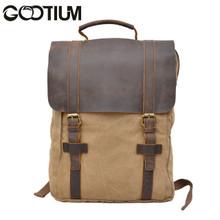 Gootium 30520KA Canvas Genuine Leather Laptop BagPack,Khaki