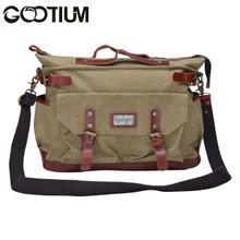 Gootium 30621KA Canvas Genuine Leather Vintage Top Handle Handbag Cross Body Bag,Khaki