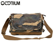 Gootium 30622CAM Canvas Genuine Leather Cross Body Messenger Handbag Shoulder Bag (camouflage)