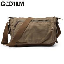 Gootium 30622AMG Canvas Genuine Leather Cross Body Messenger Handbag ,Army Green