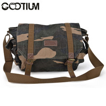 Gootium 30623CAM Special High Density Thick Canvas Genuine Leather Canvas Cross Body Bag,Camouflage