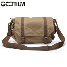 Gootium 30623KA Canvas Genuine Leather Cross Body Messenger Handbag Bag,Khaki