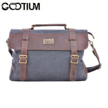 Gootium 30825GRY Cotton Canvas Genuine Leather Cross Body Laptop Messenger Business Shoulder Handbag