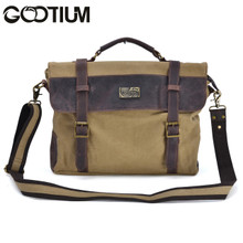 Gootium 30825KA Cotton Canvas Genuine Leather Cross Body Laptop Messenger Business Shoulder Handbag