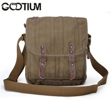 Gootium 30829AMG Thick Canvas Leather Cross Body Messenger Handbag Satchel Bag Army Green